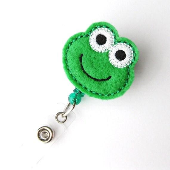 Froggy - Name Badge Holder - Cute Badge Reels - Unique Retractable ID Badge Holder - Felt Badge Reel - Peds RN Badge - BadgeBlooms
