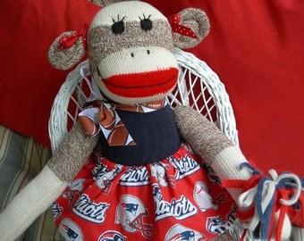 Super Bowl Champions New England Patriots Football Brown Red Heel Sock Monkey Girl Doll/Cheerleader