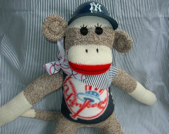 NY Yankee Classic Brown Red Heel Sock Monkey Doll/Handmade