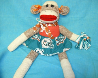 Miami Dolphins Football Brown Red Heel Sock Monkey Girl Doll