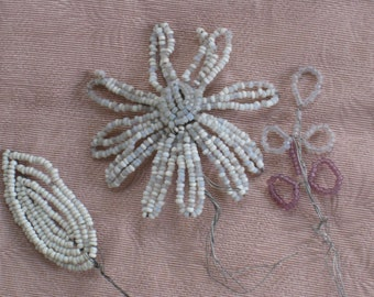 Price Reduced - Handmade French Beaded Flower and Leaves on WIre - White, Grey & Lavender - Antique VIntage