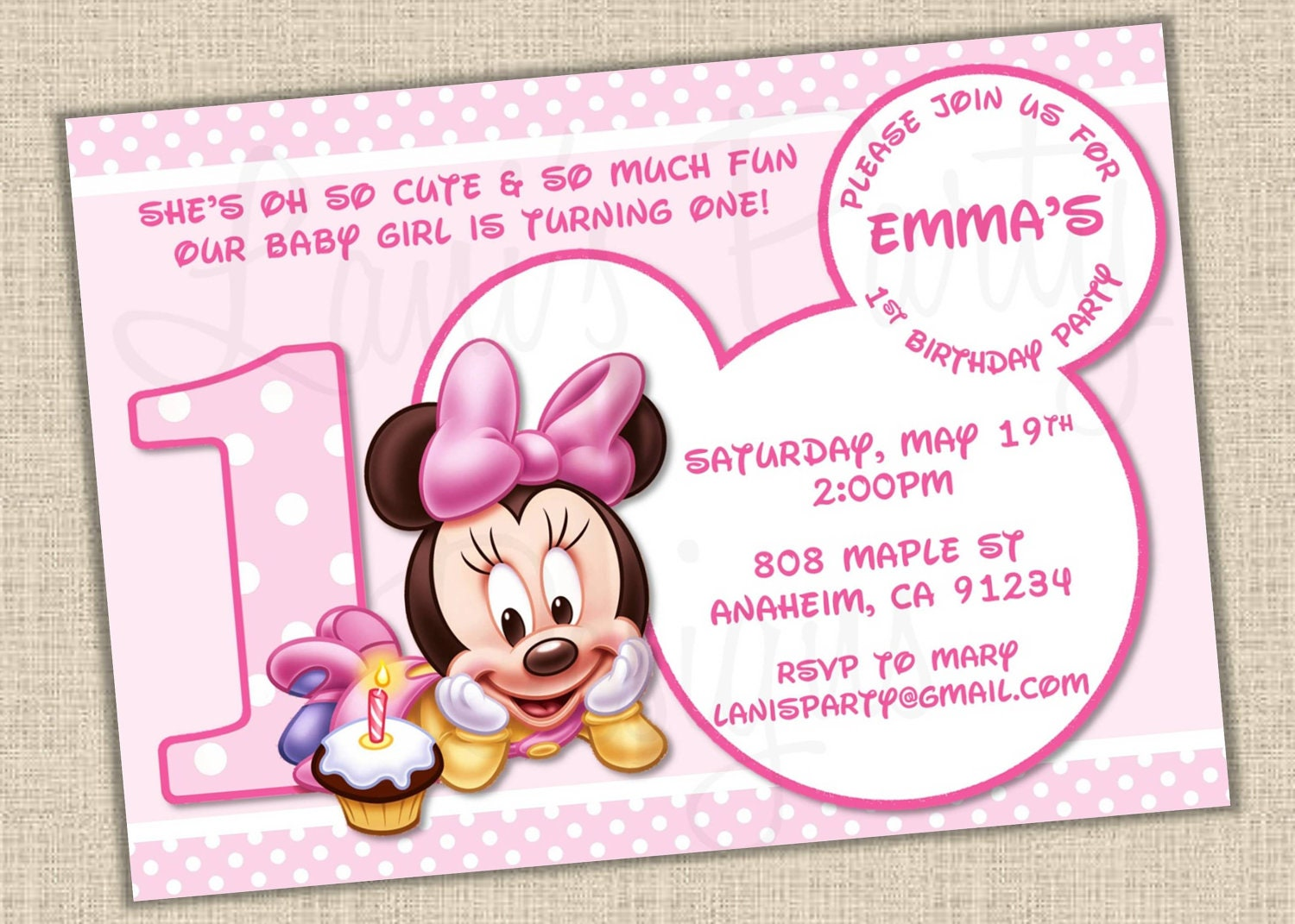 PINK Baby Minnie Mouse Matches Minnie's 1st by ...