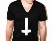Black V neck White Inverted cross V neck Mens S M L