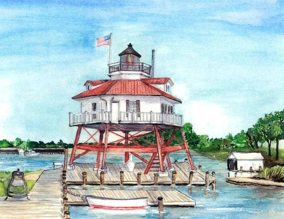 Drum Point Lighthouse Print, Solomon's Island Watercolor, Maryland Art, Seashore Home Decor Painting, Chesapeake Bay Waterscape Picture