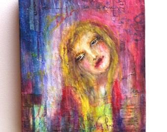 "Original Mixed Media Box Canvas - ""Halo"" by Julie Maginn"