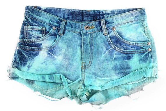 Bleached Denim Shorts - Cut Off Denim Shorts - Tie Dyed Shorts - Ombre Shorts - Distressed Denim