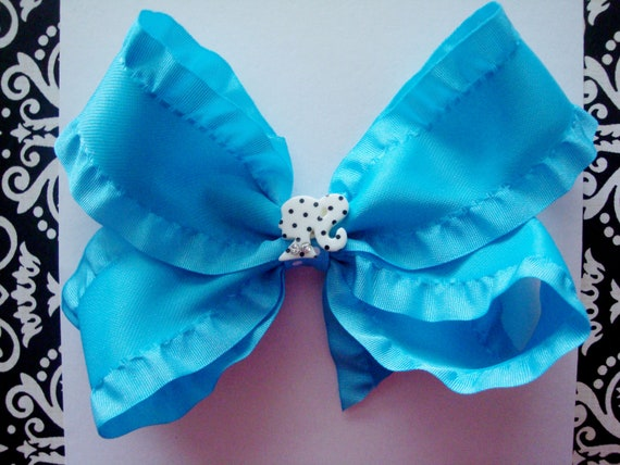 Blue glamour girl hairbow