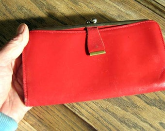 Red Leather Cowhide billfold clutch zippered pocket snap all in perfect shape work
