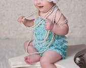 Mint Lace Romper Photo prop, Petti bloomer, Perfect for photo shoots NB-12M