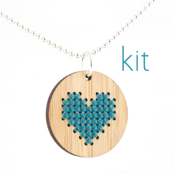 DIY Cross Stitch Necklace Kit, Bamboo Heart Pendant in Blue