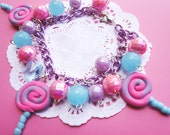 Cute Pink and Blue Lollipop Braelet