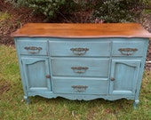 SOLD -Distressed Buffet Media Cabinet Aqua Blue Turquoise Hand Painted Solid Maple Buffet Shabby Chic Cottage Chic