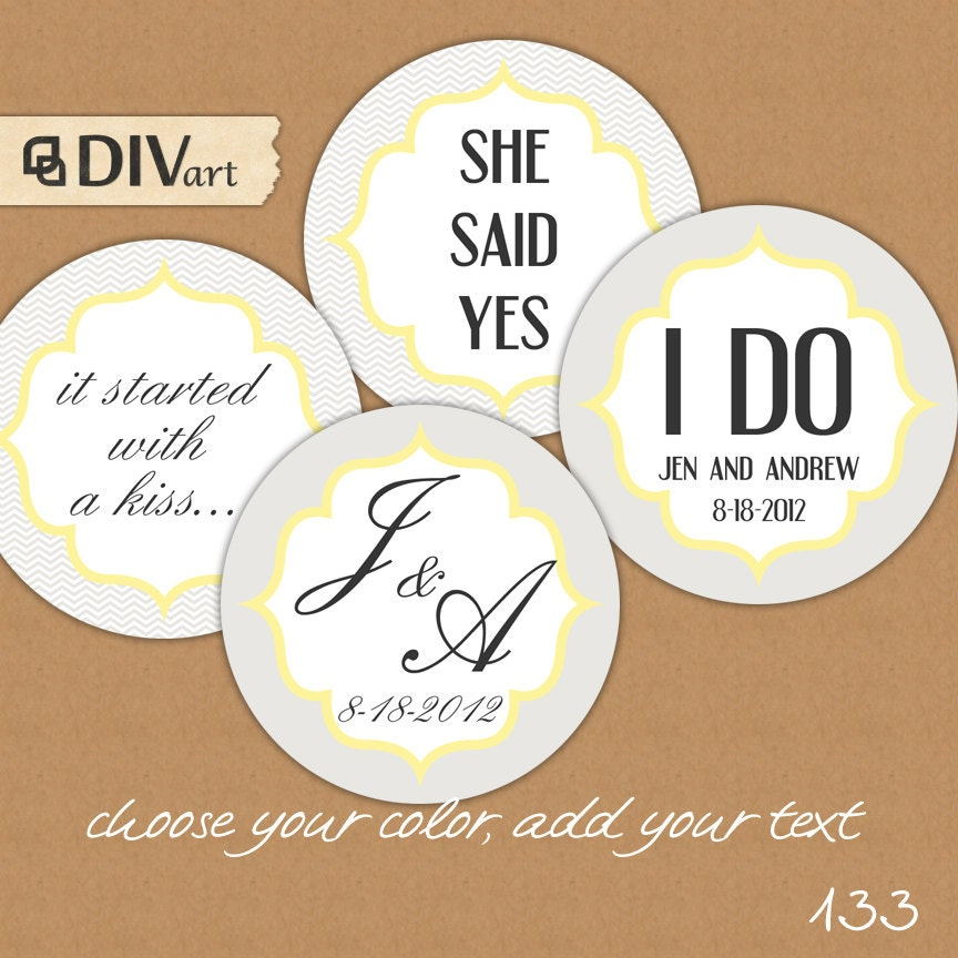 PRINTABLE 2 Wedding Favor Tags Gift Tags Thank You Tags by DIVart