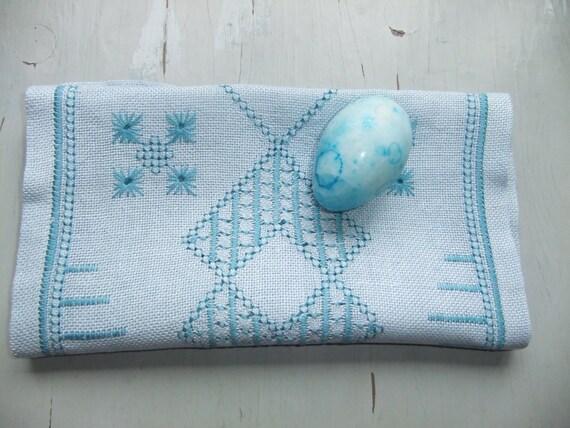 Vintage Swedish Ice blue linen tablecloth