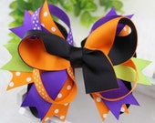 Boutique Stacked Hair Bow - Orange Black Purple Green