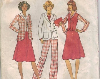 Vintage Simplicity Sewing Pattern 7377 (PATTERN ONLY) - Women's Unlined Jacket, Vest, Skirt, and Pants (22.5-24.5)