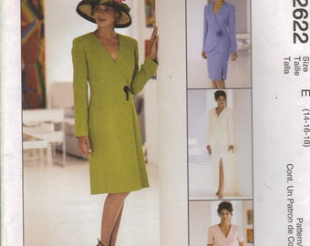 McCall's Sewing Pattern 2622 - Misses' Dress, Lined Jacket, Skirt (14-18 or 20-24)