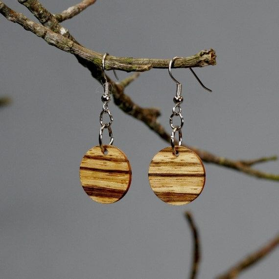 Zebra Wood Disc Earrings
