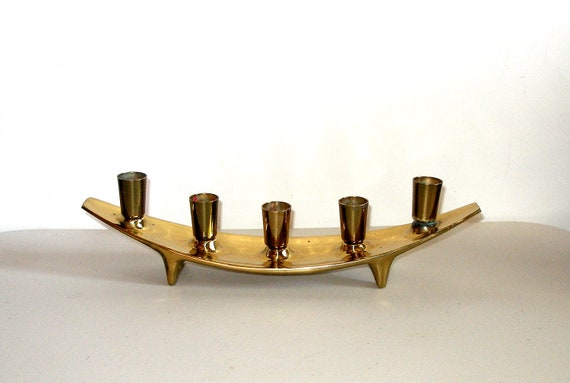 Vintage Ben Seibel JENFRED WARE Raymor Brass CANDELABRA, Mid Century Retro Eames Era, Excellent Condition, Ultra Rare
