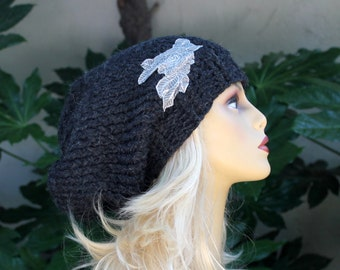 Hand Knit, 100 Percent Alpaca, Charcoal Gray, Over-Sized, Slouchy, Beanie Hat with Silver/Gray Lace Applique Women  Fall Winter
