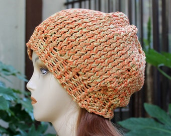 Hand Knit, 100 Percent Organic Cotton, Orange and Olive Green, Slouchy, Beanie Hat for Women or Men Spring Summer