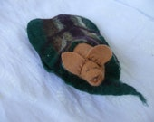 Hand felted steiner inspired forest green leaf with mouse toy/ pocket friend