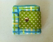 Billfold Wallet Modern Plaid Green Polka dots and Aqua Blue