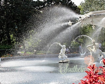 Forsyth Park- 8x10 - Savannah, Georgia - Beautiful Fountain - Ready to Frame