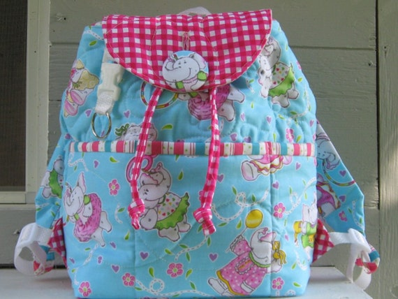 Handmade quilted kids backpack, aqua and pink