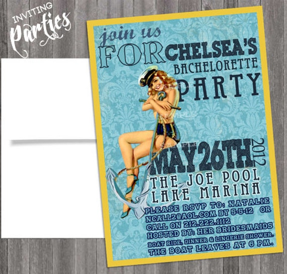 Nautical Vintage Pin Up Girl Invitation- Bachelorette, Hens night, Lingerie Shower Birthday party diy print file Printed Optional