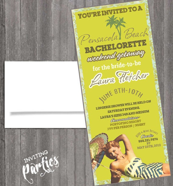 Beach Vintage sexy pin up Invitation Bachelorette party, Hens night, Lingerie Shower Birthday weekend Beach