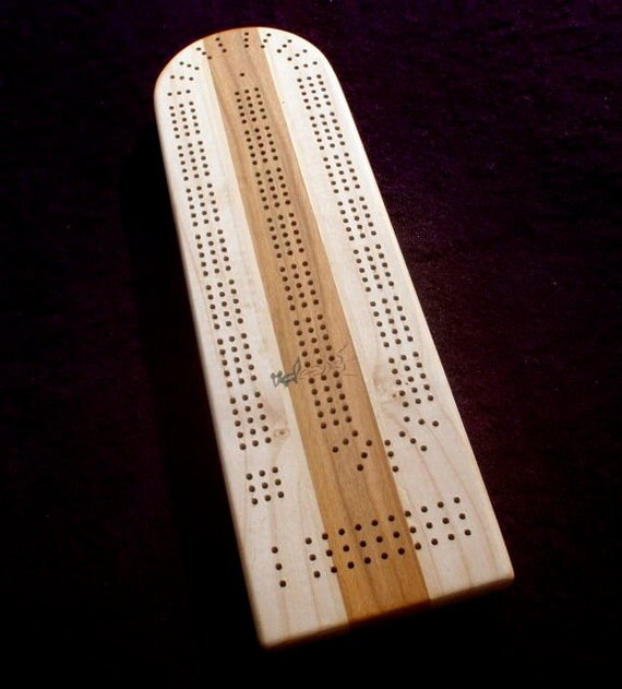 Cribbage Board No. 7 Subtle Fiddleback Maple and Wild Cherry