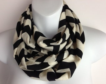 Black and Cream Chevron Jersey knit infinity scarf