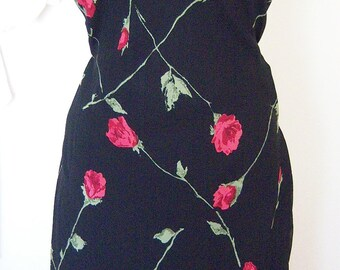 Betsey Johnson Black slip dress with red roses