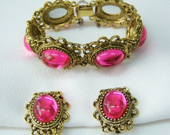 Antiqued gold set fuchsia pink glass bracelet earrings