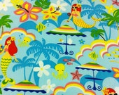 NEW Hawaiian Fabric in Kanoe the Mermaid, Ocean Blue 2 yards