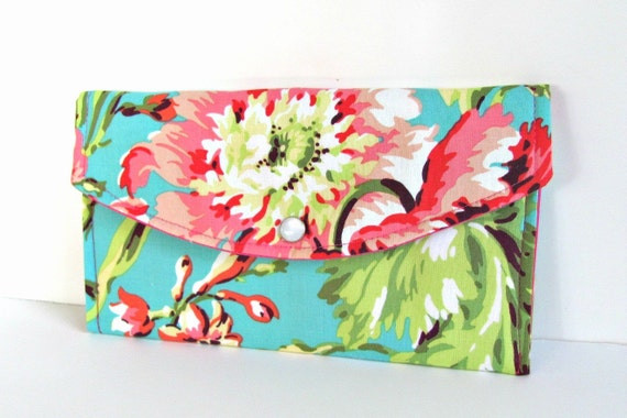 Clutch Purse Hot Pink Green Womans Wallet Coupon Pouch Amy Butler Bridesmaid Wedding Clutch