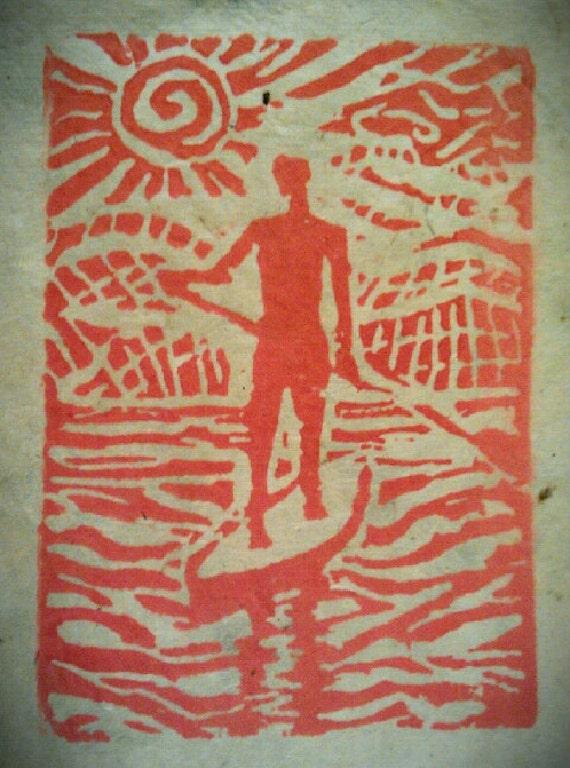 On Board 3 x 5 Linocut print