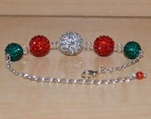 Rhinestone Crystal Pave Bracelet 14mm, 12mm, 10mm Christmas Red, Green, and White