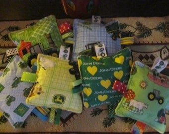 Baby toys, crinkle toys, your choice of any 2 John Deere toys, baby boy, baby girl, lot of prints to choose from