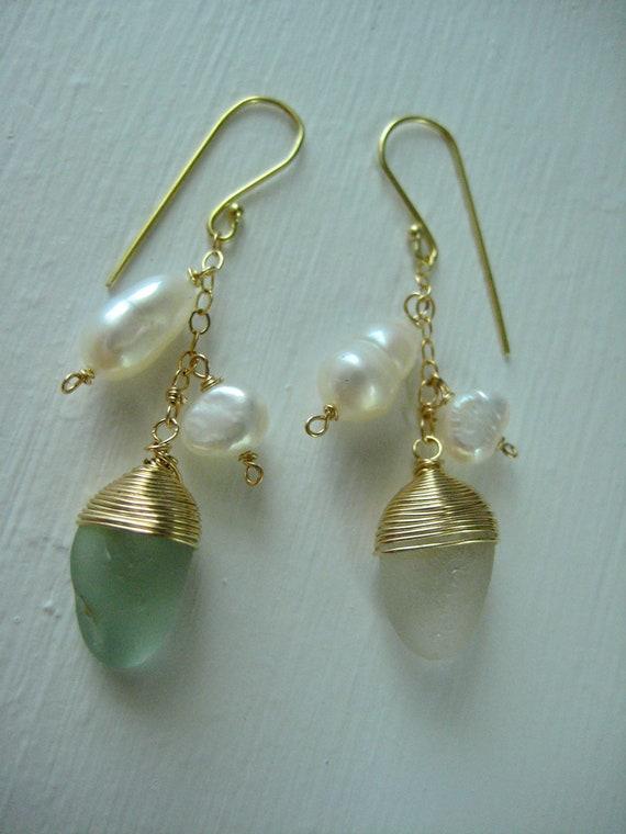 Sea Glass Earrings, Wire Wrapped