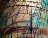 Abstract Fine Art Photography, Blue and Orange - Shadows on Barrel -8x12