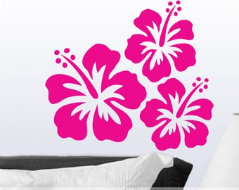 Vinyl Wall Decal, 3 Hibiscus Wall Decals, Hawaiian Tropical Flowers, Floral Decal, Floral Decor, Hibiscus Decal