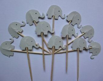 24 Light Grey Elephant Toothpicks- Double Sided, Card Stock- Party Picks, Cupcake Toppers, Decorations