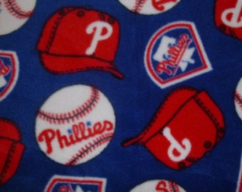 "Child/Baby Sized Philadelphia Phillies No Sew Fleece Blanket with Red Back (36"" x 60"") MLB double sided hand tied blanket"