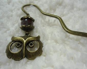 Metal Owl Bookmark -- Fancy Jasper -- Unique Christmas Gift or Stocking Stuffer