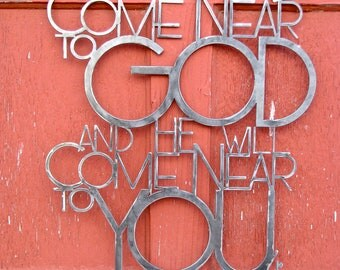 "Metal Scripture Wall Hanging James 4:8- ""Come Near"""