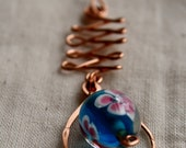 Copper Wire Pendant with Blue Glass Bead