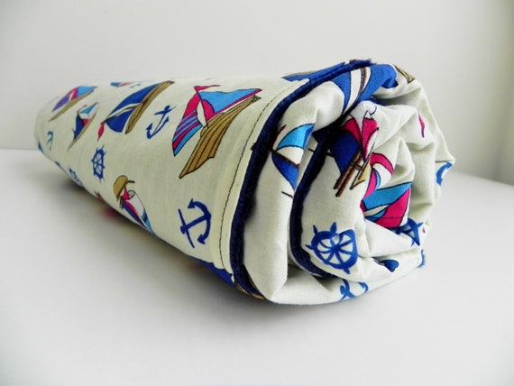 Baby/Toddler Blanket, Nautical Toss in Yellow and Navy Bubble Dot Minky