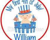 First fourth of July baby boy -  personalized - digital image